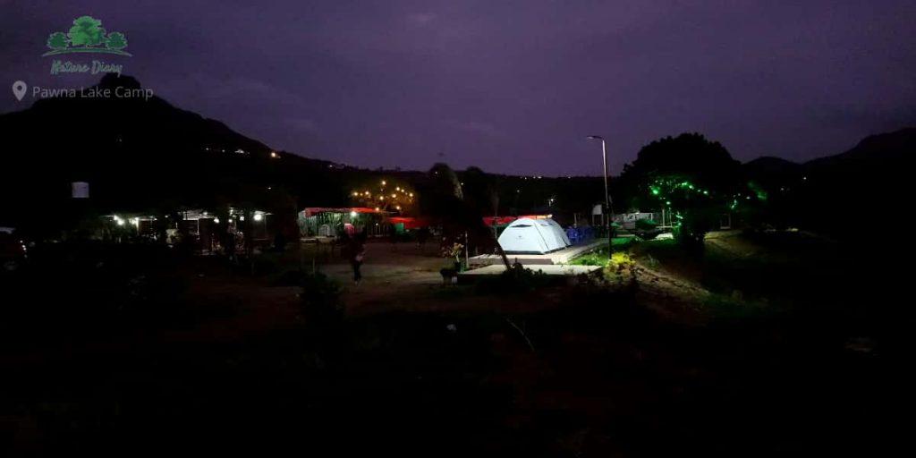 Pawna Lake camping at night