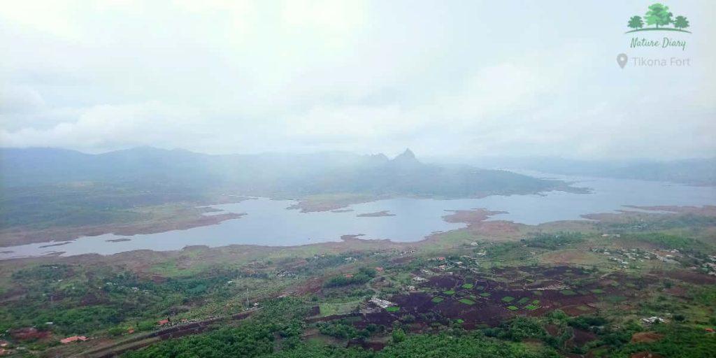 Pawna lake from tikona fort top