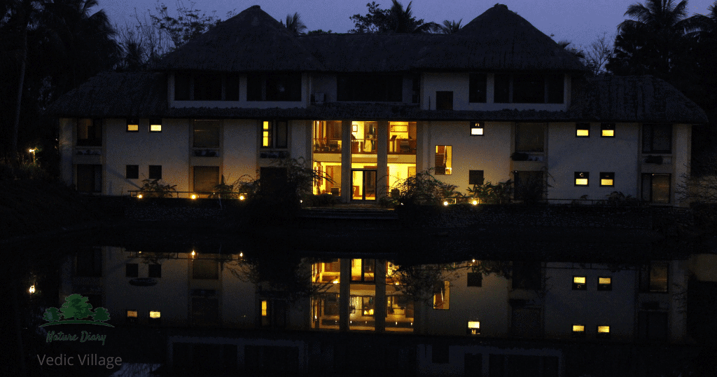 vedic village in the evening