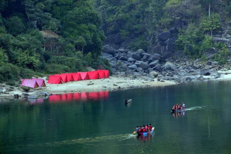 Dawki river camping in Meghalaya